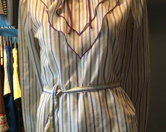 Vintage 1970s Striped Blouse with Ruffle/Bow/Matching Belt Detail - Size Small