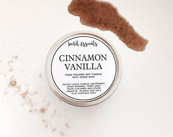 Cinnamon Vanilla Natural Soy Wax Tin Candle with Wooden Wick