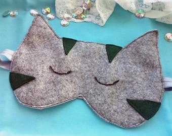 Sleeping Cat underwear, Felt Cat sleep mask,Natural SOFT kids adults eye mask,Sleepwear Lingerie, Cute night eye pillow,Travel eye blindfold