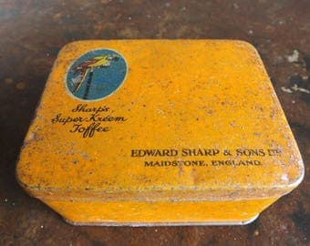 Vintage 1930s sharps super kreem toffee tin