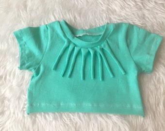 Baby crop top, girls crop top, fringe crop top, belly shirt, mint crop top, fringe shirt