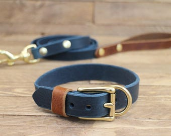Dog collar, Combo dog collar and leash, FREE ID TAG, Handmade leather collar and leash, Brass hardware, Pet gift, Brown leather,