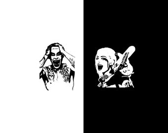 Harley Quinn & The Joker Decal Set, Suicide Squad Decals, DC Comics, Vinyl Wall Decals