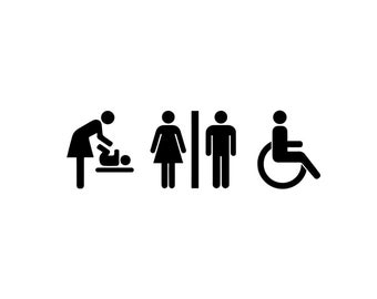 Bathroom Decals - Restroom Decal, Bathroom Sign, Wall Decal, Handicap, Changing Station