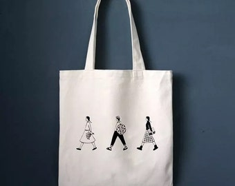 Creamy White Canvas Tote Bag with Zippered - Cute Tote Bags - Unique Pattern Tote Bag - Gift Idea for best Friend