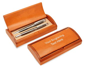 Personalized Gunmetal Ballpoint Pen and Roller Ball Pen Gift Set With Rosewood Box - S6313-GM