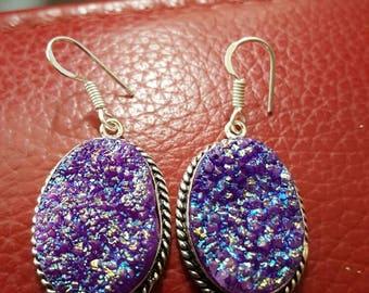 Purple Titanium Druzy Earrings!
