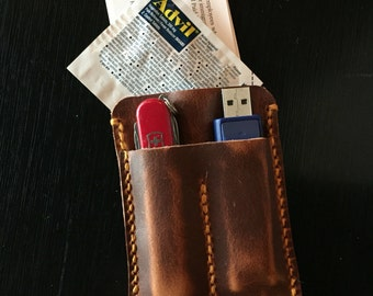 EDC Leather Case for business card wallet, usb flash drive and Swiss Army knife
