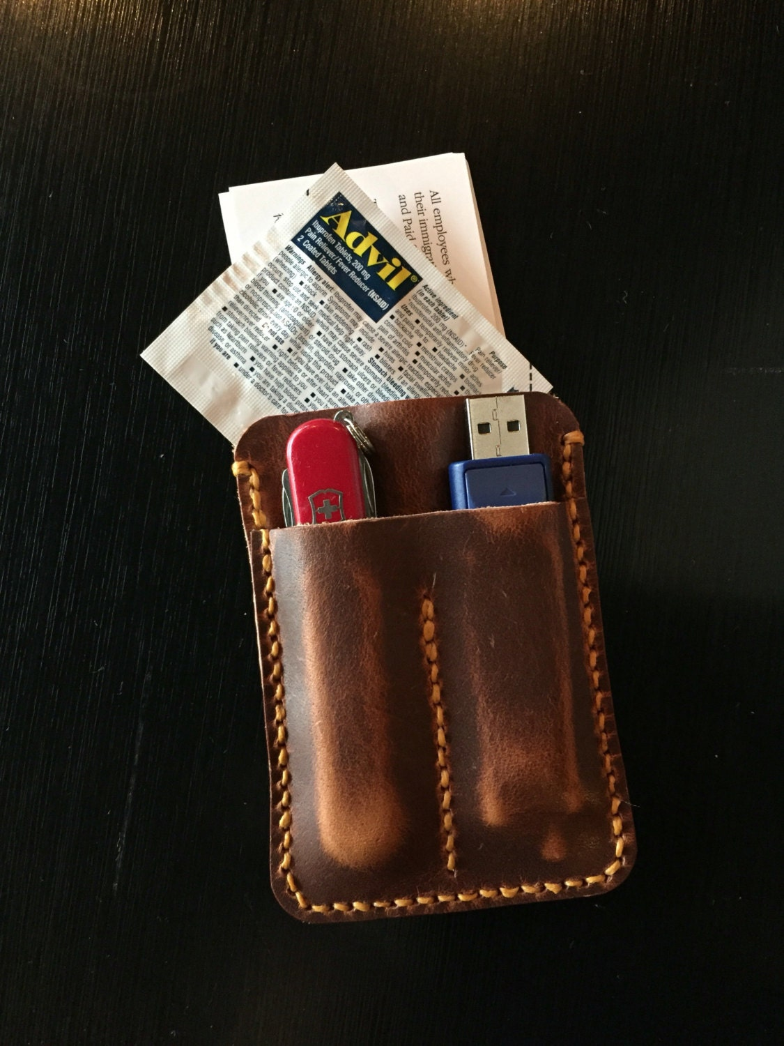 Edc Leather Case For Business Card Wallet Usb Flash Drive And