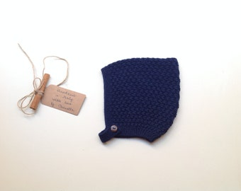 READY TO SHIP -  100% cashmere baby kid Pixie bonnet hat color Blue prussian  hand knit,   size 6-12 months