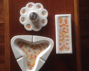 Mid Century Smoking Set Ashtray Cigarette Box Lighter
