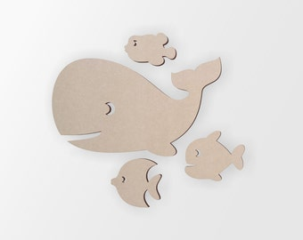 wooden fish group 4 fish cutout home decor unfinished and available