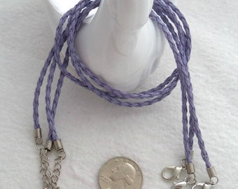 Lavender - 16 inch Faux Leather Neck Cord, Pack of 3 (1742)
