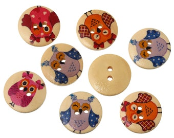 15 Wood Sew/Scrapbook Owl Buttons 2 Hole 18mm (B308c)