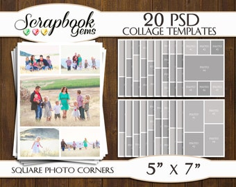 """TWENTY (20) 5"""" x 7"""" Digital Photo Collages / Storyboard Templates, PSD Format, Photo Scrapbook Template Collage"""