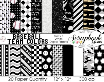 "Baseball Digital Papers Black & White, 20 Pieces, 12"" x 12"", High Quality JPEG files, Instant Download Commercial Use Sports Glitter"