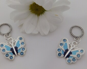 Set of Two Blue Butterfly Stitch Markers for knitting for needles up to 6 mm.