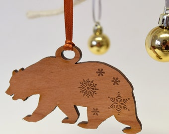 Wooden Polar Bear Christmas Decoration - Polar Bear - Wooden Decoration - Christmas Decor