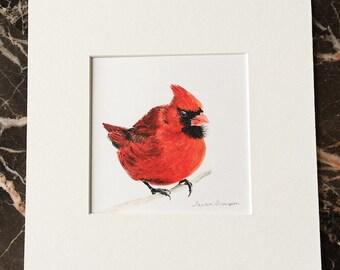 Red Cardinal Original Painting, cardinal art, cardinal painting, red bird painting, bird wall art, bird art, male cardinal, red bird art