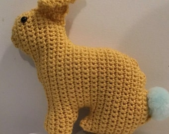 Handmade Crochet Bunny Rabbit / Mustard / Pure Wool / Glow in the dark pom pom tail / Childrens Toy / Present