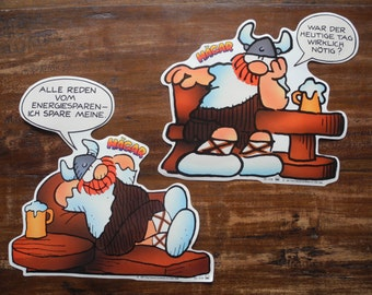 2 big Hagar Wickie the Vicking stickers