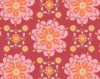 Organic Fabric - Modern Fabric - Mandala - Monaluna Fabric - Red - Raaga - Floral Organic Fabric - Cotton - quilt - damask - Magenta
