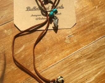 Leather multi wrap necklace