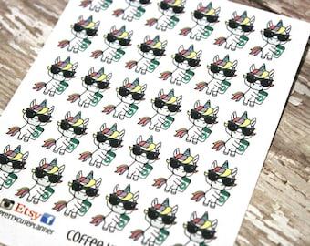Unicorn Stickers - Unicorn Planner Stickers - Character Stickers - Coffee Unicorn - Kawaii Unicorn Stickers - Unicorn Drinking coffee
