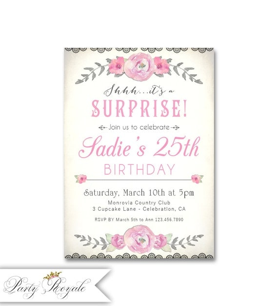 surprise 25th birthday invitations for her 25th birthday, Birthday invitations