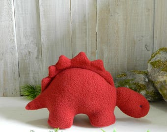 Small stuffed red fleece stegosaurus dinosaur toy, plush dinosaur, gift for girls, gift for boys, baby shower gift