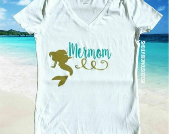 Mermom Shirt, Mother of a Mermaid, Mother of Mermaids, Mermaid Birthday Mom, Choose Your Colors, Mermama Shirt, Mermaid Birthday Shirt,