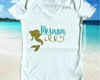 Mermom Shirt, Mother of a Mermaid, Mother of Mermaids, Mermaid Birthday Mom, Choose Your Colors, Mermama Shirt, Mermaid Birthday Shirt,