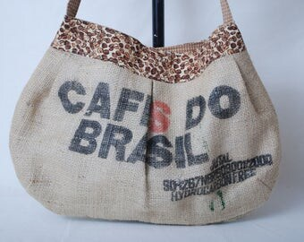 Recycled Burlap Hobo Style Purse with Coffe Bean Fabric