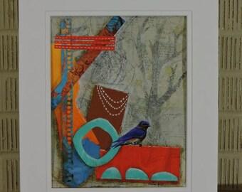 Blue Bunting Original Mixed Media Collage Art