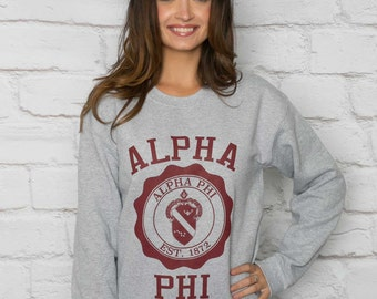 Alpha Phi Printed Sweatshirt in Grey