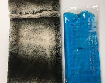 """Migraine Relief, soft fuzzy cover for 4"""" x 10"""" ice pack, included"""