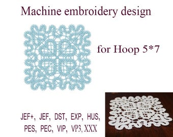 Machine embroidery designs  napkin. lace embroidery design   lace doily Design.  FSL ITH. Embroidery Instant Download.