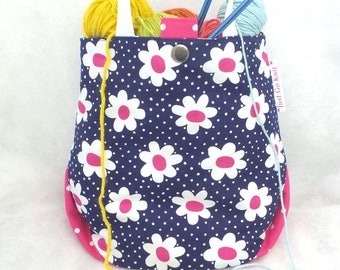 Knitting Project Bag, Crochet Project Bag, Knitting Tote,  Small Project Knitting Tote, WIP Bag, Sock Bag