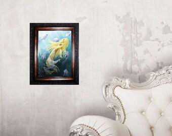 print, poster, illustration mermaid, siren, fantasy, decoration