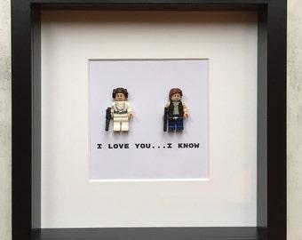 I Love You picture - Lego Starwars mini figure Han Solo and Princess Leia