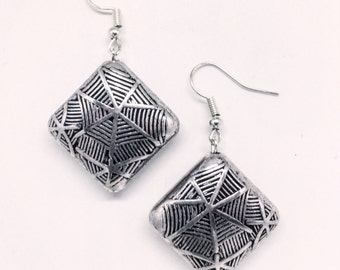 Spider Web Silver Earrings