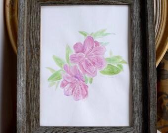 Watercolor flowers painting, Watercolor Azaleas Painting, Watercolor Painting pink azaleas