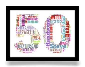 50th Birthday gift personalised word art A4 gloss print. Birthday age number created from your simple list of around 20 words.