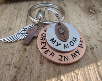 hand stamped key chain, Mom memorial,loss of Mom,Memorial for Mother,  Memorial jewelry,Sympathy gift for loss of Mom, Forever in my heart