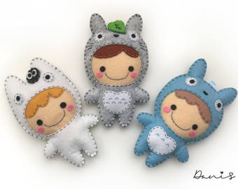 Set of 3 Felt Totoro Girl Ball Chain Charms