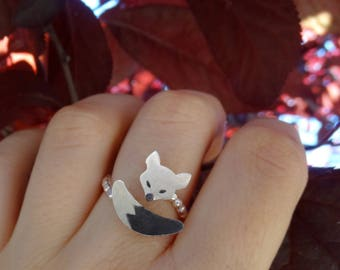 Silver fox ring, Sterling silver ring, Fox ring, Fantasy ring, Adjustable ring for women, Silver ring women, Fox gift, Silver fox jewels
