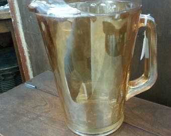 Vintage Large Hex Optic Pitcher Marigold Carnival Glass Iridescent Pitcher