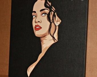 Rihanna, canvas, original art work, pine frame, awesome gift