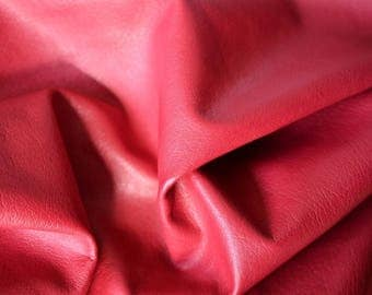 Red Natural Leather Italy  7 sq ft 75cm x 60cm ,Thickness: 1,2-1,4 mm b805
