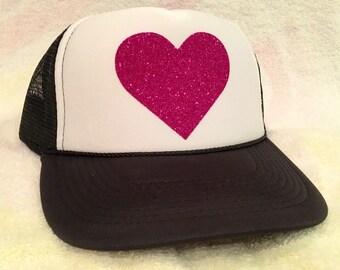 Black/White Trucker Hat with Glitter Pink Heart